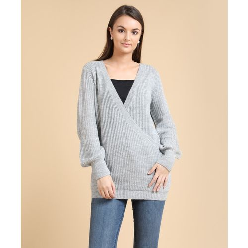 Forever 21 Self Design V-neck Casual Women's Grey Sweater