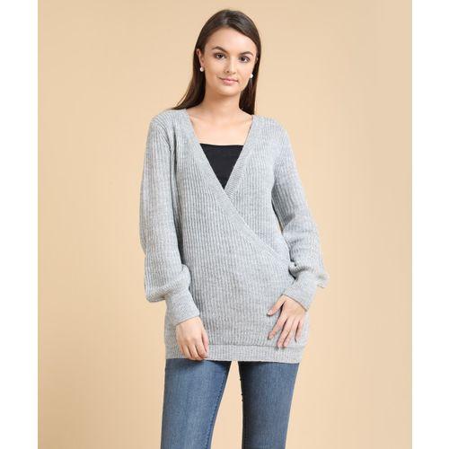 Forever 21 Self Design V-neck Casual Women's Grey Sweater