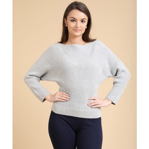 Forever 21 Self Design Boat Neck Casual Women's Grey Sweater