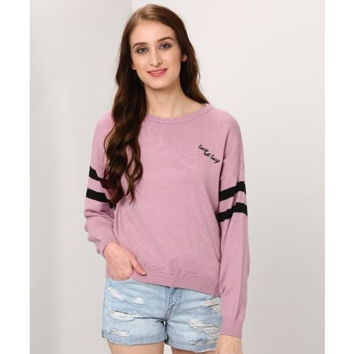 Forever 21 Solid Round Neck Casual Women's Pink Sweater