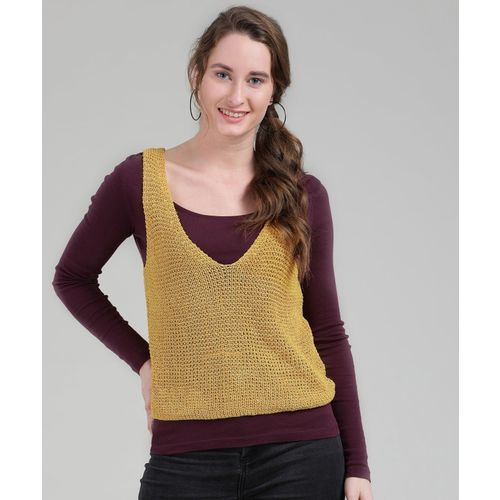 Forever 21 Woven V-neck Casual Women's Yellow Sweater