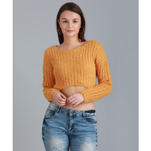 Forever 21 Self Design Round Neck Casual Women's Yellow Sweater