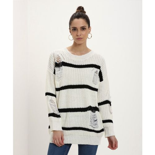 Forever 21 Striped Round Neck Casual Women's White Sweater