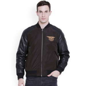 Justanned Men Brown Colourblocked Bomber
