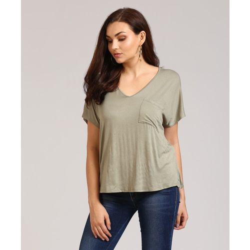 Forever 21 Casual Short Sleeve Solid Women's Green Top