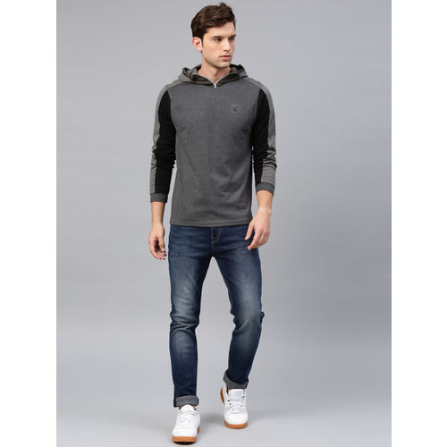 HRX by Hrithik Roshan Men Grey Melange Hooded Active Sweatshirt