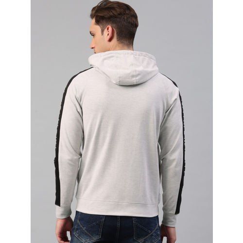 HRX by Hrithik Roshan Men Grey Melange Solid Hooded Sweatshirt