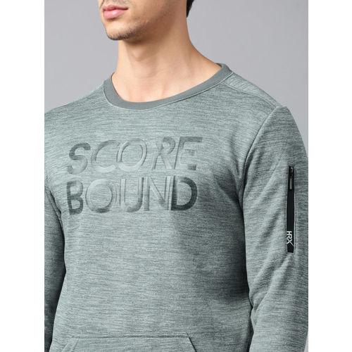 HRX by Hrithik Roshan Men Grey Melange Printed Round Neck Sweatshirt