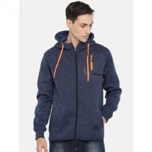 HRX by Hrithik Roshan Men Navy Blue Solid Hooded Sweatshirt