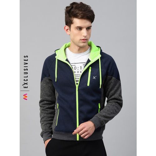 HRX by Hrithik Roshan Men Navy & Grey Melange Colourblocked Hooded Sweatshirt