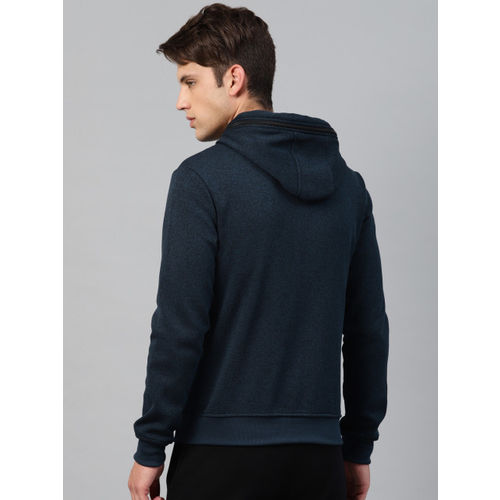 HRX by Hrithik Roshan Men Navy Blue Solid Hooded Sweatshirt