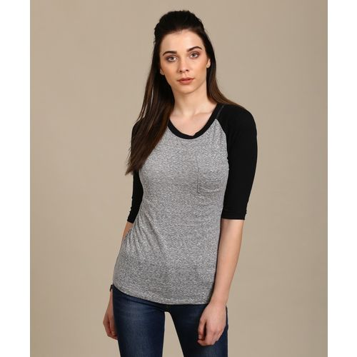 a5df2268c84e Buy Forever 21 Color block Women Round Neck Grey, Black T-Shirt online |  Looksgud.in