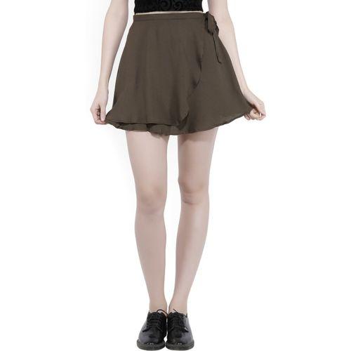 Forever 21 Solid Women's Skorts Dark Green Skirt