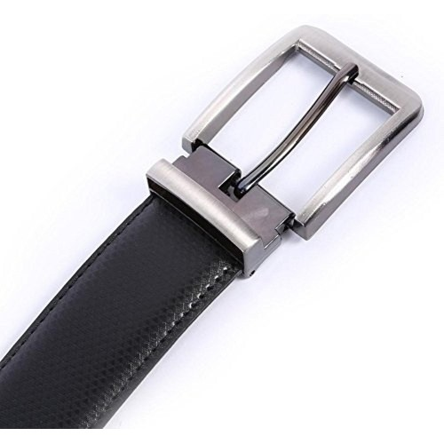 Saugat Traders Black Leather Solid Reversible Formal Belts