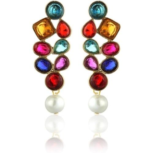 Zaveri Pearls Multi Colored Pearls Alloy Drop Earring