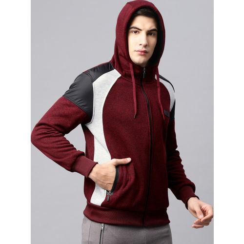 HRX by Hrithik Roshan Men Maroon Solid Hooded Sweatshirt