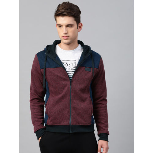 HRX by Hrithik Roshan Men Maroon & Navy Colourblocked Hooded Sweatshirt