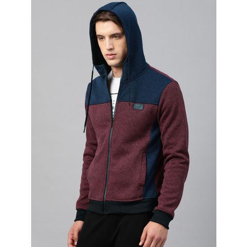 HRX by Hrithik Roshan Men Maroon & Navy Colourblocked Hooded Sweatshirt