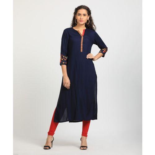 Vishudh Women's Solid Straight Kurta(Dark Blue)