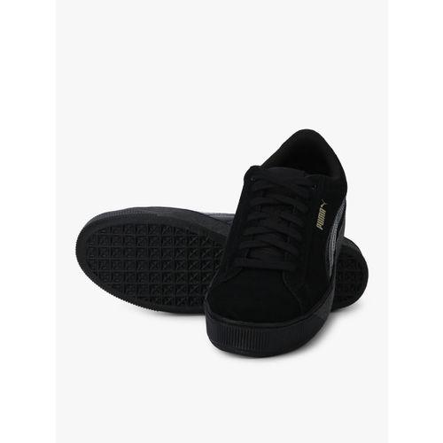 Puma Black Leather Vikky Platform Patent Sneakers