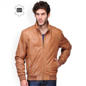 Teakwood Leathers Men Tan Brown Leather Jacket