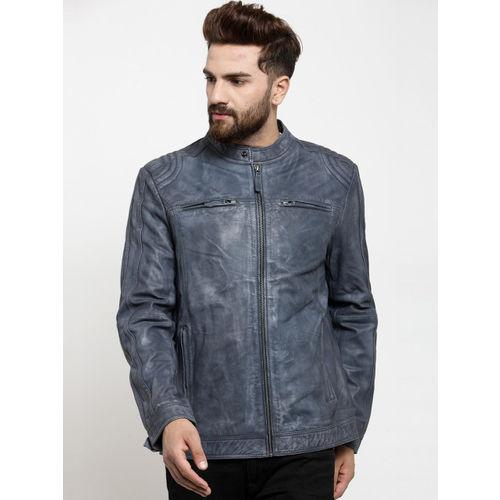 Teakwood Leathers Men Blue Solid Biker Jacket