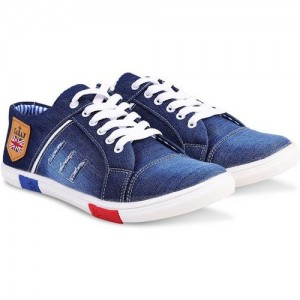 Red Rose Blue Denim Lace Up Casual Shoes