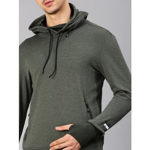 HRX by Hrithik Roshan Men Green Solid Sweatshirt