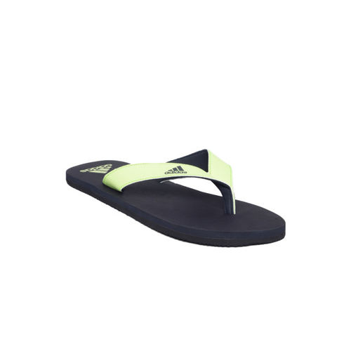 ADIDAS Men Fluorescent Green & Navy Solid Thong Flip-Flops