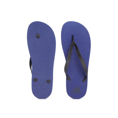 ADIDAS Men Black & Blue ADI Rib Solid Thong Flip-Flops