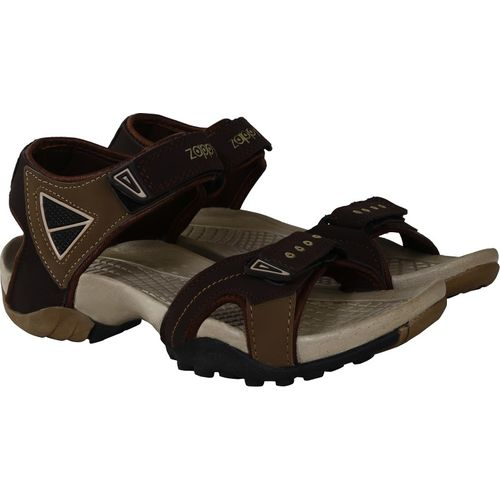 Zappy Brown Nubuck Leather Hook and Loop Sandals For Men