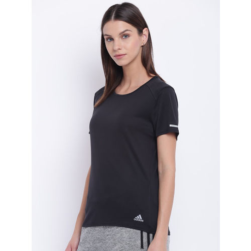 Adidas Women Black Solid Climalite Running T-shirt