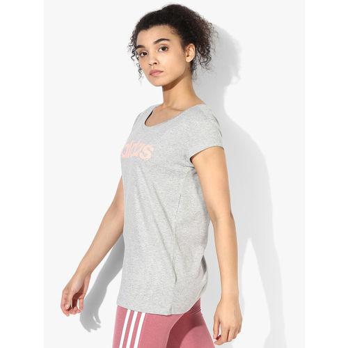 Adidas W Com T Grey Round Neck T-Shirt
