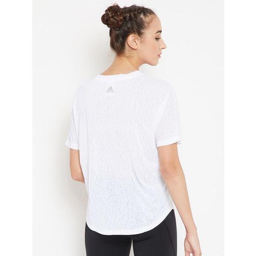 Adidas Women Yellow Printed Magic Logo Training T-shirt