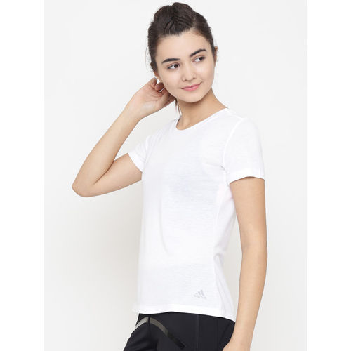 Adidas Women White Solid Low Back T-Shirt