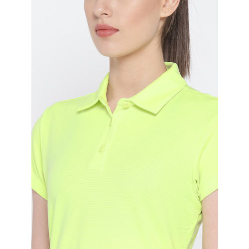 Adidas Women Lime Green Solid Polo CLIMACHILL T-shirt