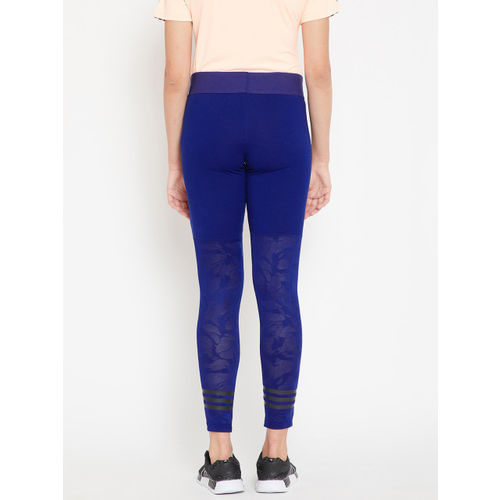 Adidas Women Blue ID Mesh Solid Tights