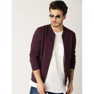 United Colors of Benetton Men Purple Self-Striped Sweatshirt