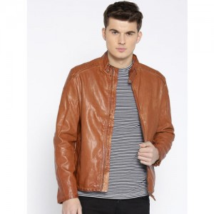 U.S. Polo Assn. Men Brown Solid Biker Jacket