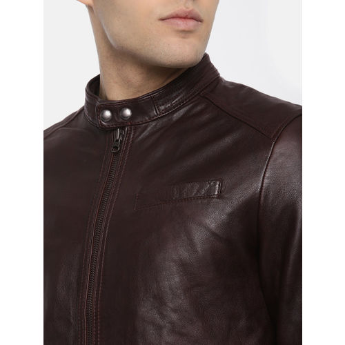 U.S. Polo Assn. Men Brown Solid Genuine Leather Biker Jacket