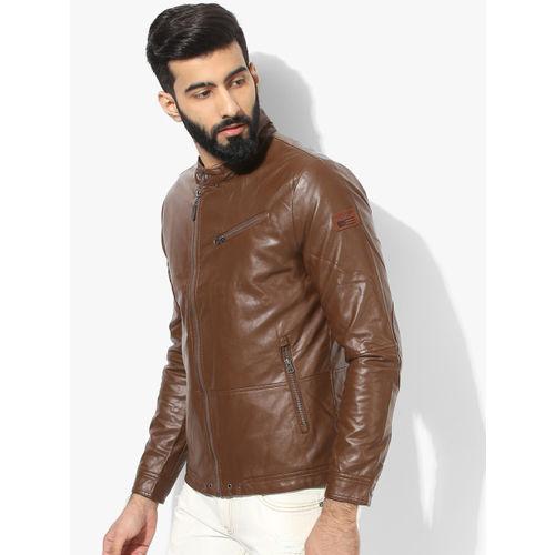 U.S. Polo Assn. Men Brown Solid Biker Jacket