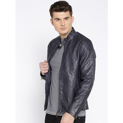 U.S. Polo Assn. Men Navy Blue Solid Biker Jacket