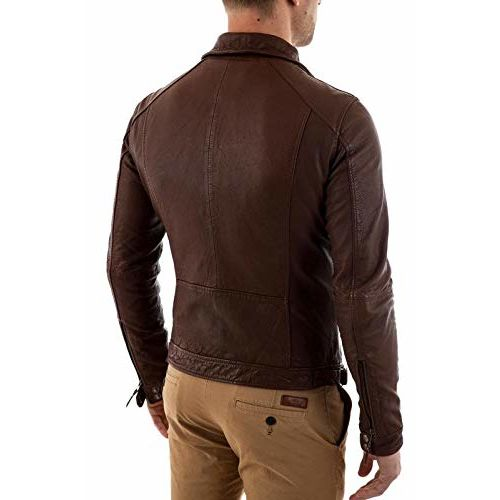 MOZRI Pure Genuine Leather Black Jacket for Men's (Size : XS to 2XL,Color : Brown)