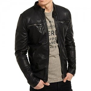 MOZRI Black Pure Genuine Leather Black Jacket