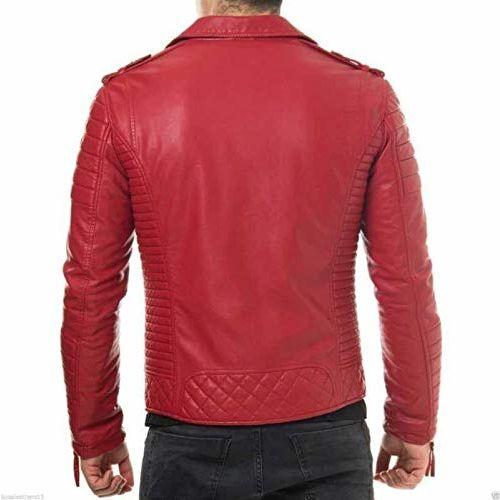 MOZRI Red Pure Genuine Leather Black Jacket