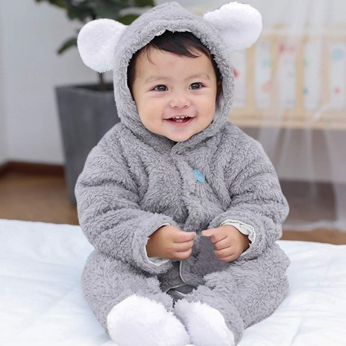 CATSAP Baby Romper Jumpsuit, One-Piece Coverall Fluffy Hooded Bodysuit Outfits Clothes Autumn Winter