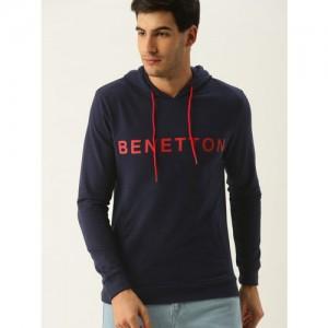 United Colors of Benetton Men Navy Blue Printed Hooded Sweatshirt