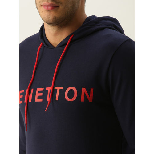 United Colors of Benetton Men Navy Blue Printed Hooded Sweatshirt