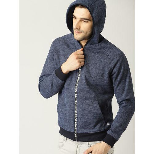 United Colors of Benetton Men Navy Solid Hooded Sweatshirt