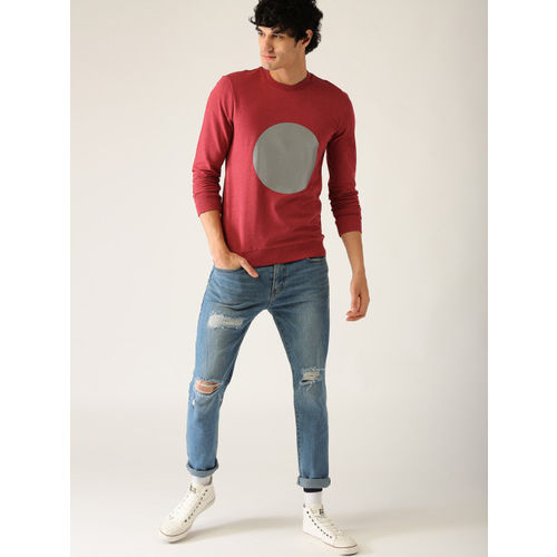 United Colors of Benetton Men Red Printed Sweatshirt